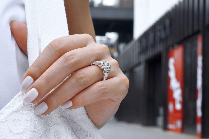 14K White-Rose Gold Round Double Halo Diamond Engagement Ring angle