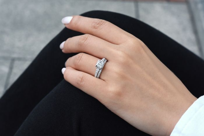 14K White-Rose Gold Princess Cut Diamond Engagement Ring angle