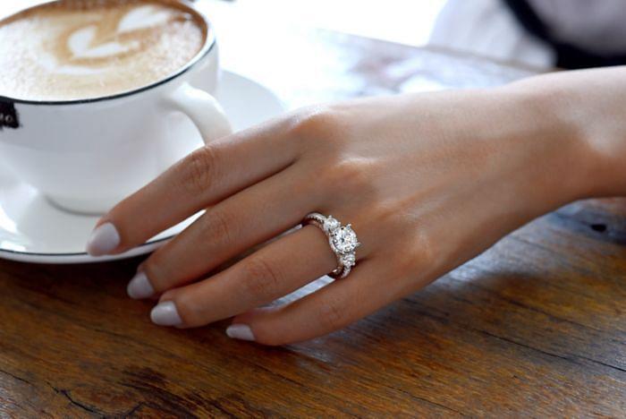 18K White-Rose Gold Round Three Stone Diamond Engagement Ring angle