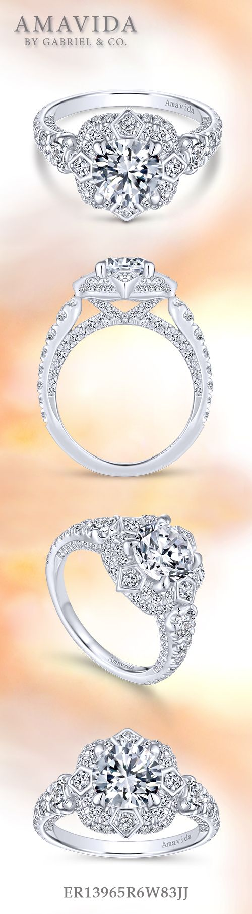 Art Deco 18K White Gold Fancy Double Halo Round Diamond Engagement Ring