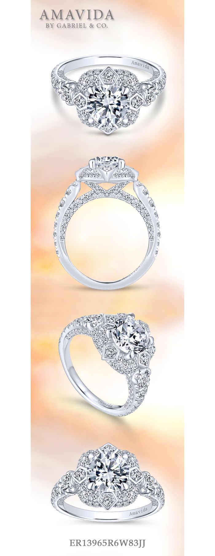 Unique 18K White Gold Art Deco Double Halo Diamond Engagement Ring angle