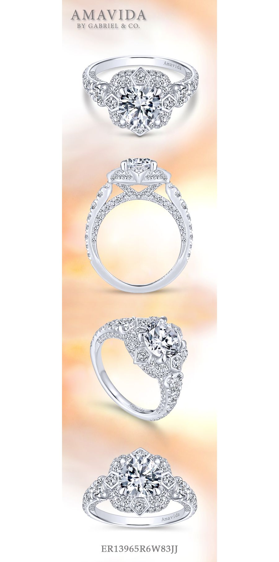 Unique 18K White Gold Art Deco Double Halo Engagement Ring