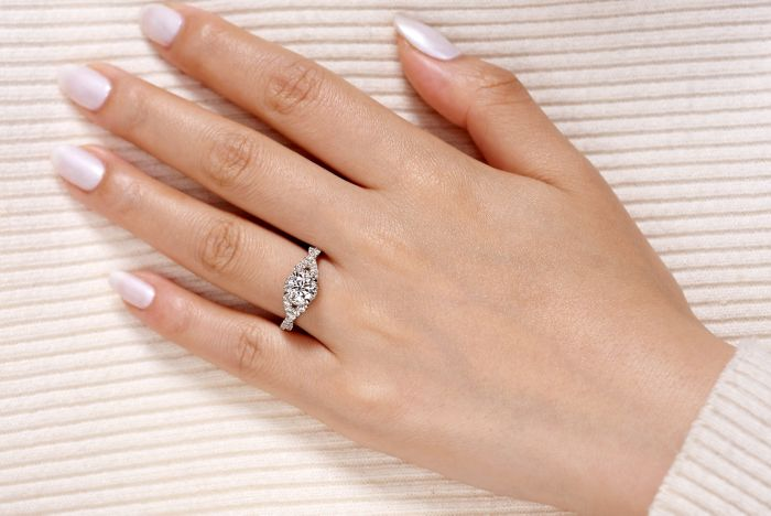 14K White-Rose Gold Twisted Round Diamond Engagement Ring angle