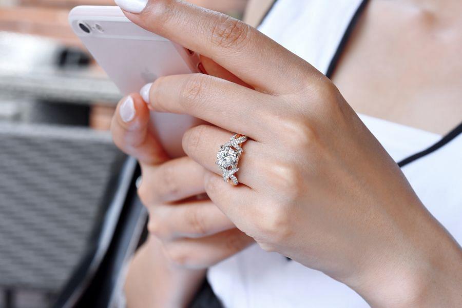 18k White-Rose Gold Round Twisted Diamond Engagement Ring angle