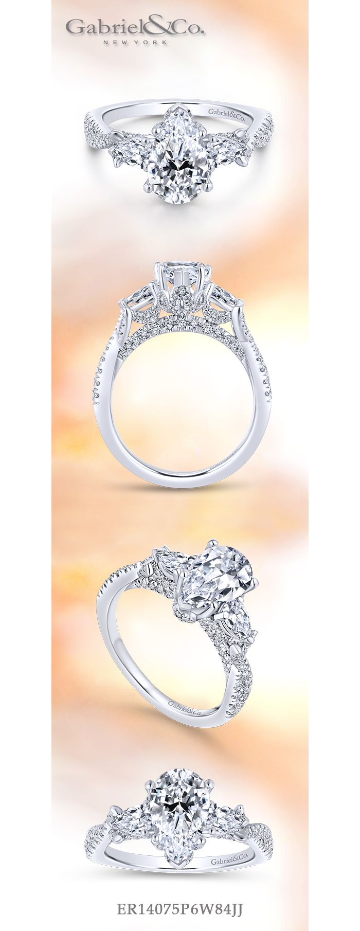 18K White Gold Pear Shape Diamond Engagement Ring angle