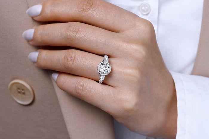 14K White Gold Round Three Stone Halo Diamond Engagement Ring angle