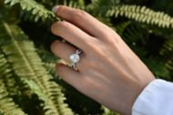 Chatham 14k White Gold Pear Shape Twisted Engagement Ring angle