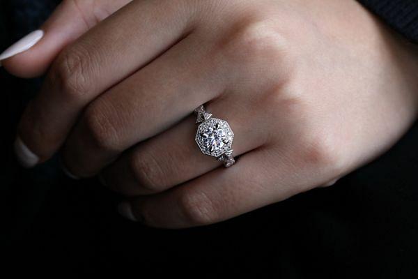 Art Deco 14K White Gold Round Halo Diamond Engagement Ring angle