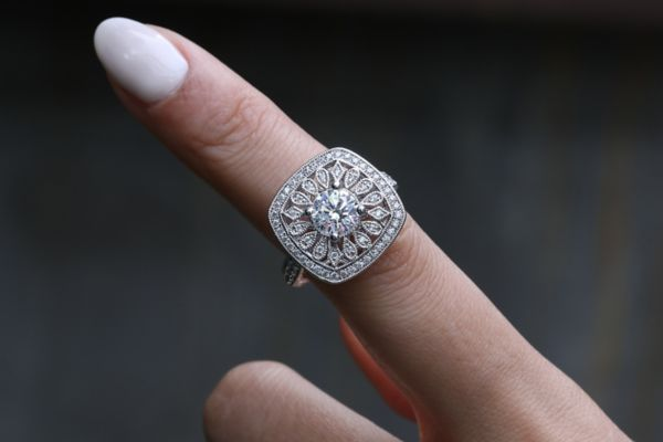 Allston 14k White Gold Round Halo Engagement Ring angle