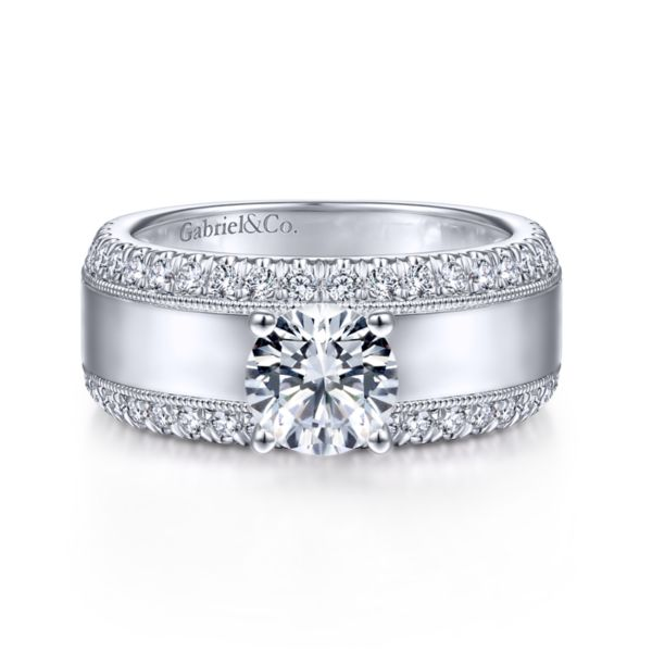 14K White Gold Wide Band Diamond Engagement Ring