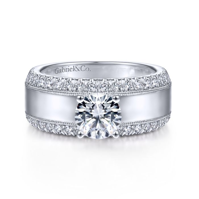 14K White Gold Round Diamond Wide Band Engagement Ring angle