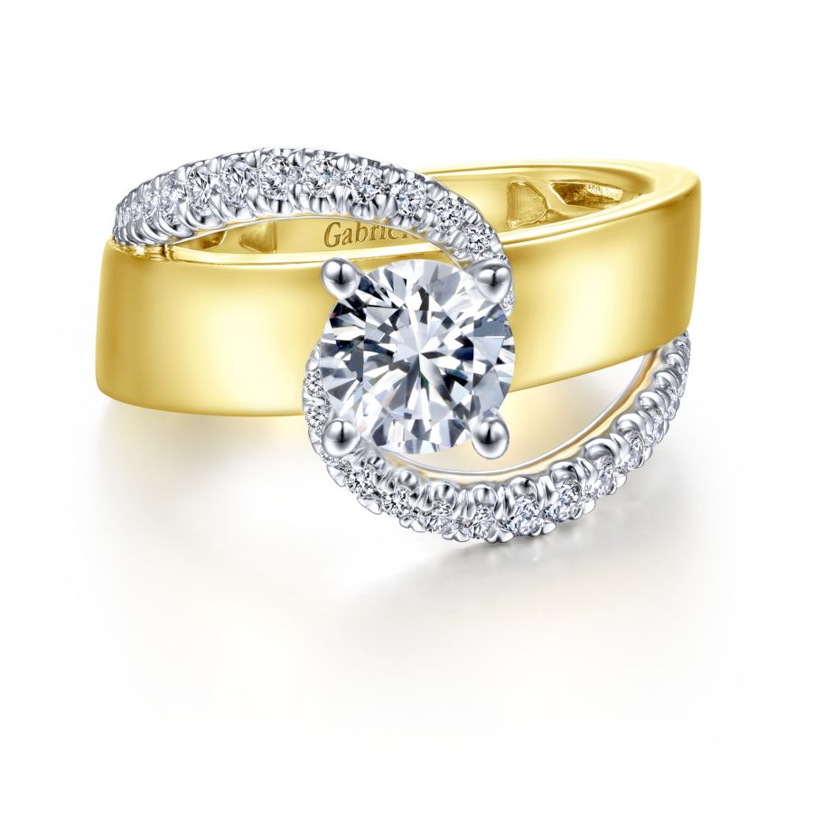 14K White-Yellow Gold Round Bypass Diamond Engagement Ring