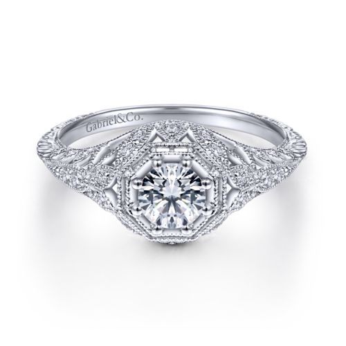 Vintage Inspired 14K White Gold Round Halo Diamond Engagement Ring angle