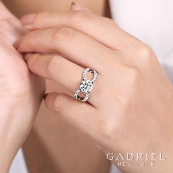 18k White Gold Round Split Shank Engagement Ring angle