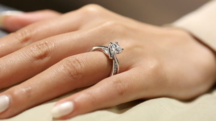 14K White Gold Round Bypass Diamond Engagement Ring angle