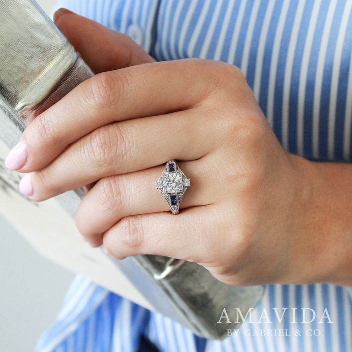 Unique Platinum Vintage Halo Sapphire and Diamond Engagement Ring angle