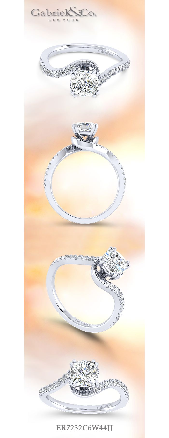 14K White Gold Cushion Cut Bypass Diamond Engagement Ring angle