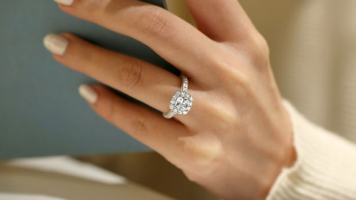 Vintage Inspired 14K White Gold Cushion Halo Diamond Engagement Ring angle