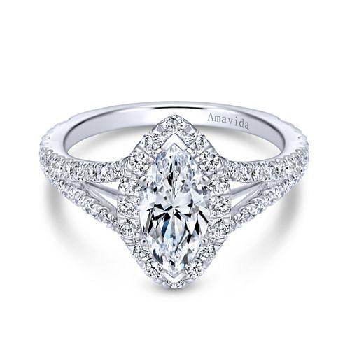 18K White Gold Marquise Halo Diamond Engagement Ring angle