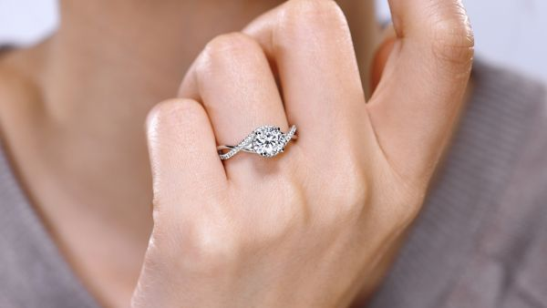 Courtney 14k White Gold Round Twisted Engagement Ring
