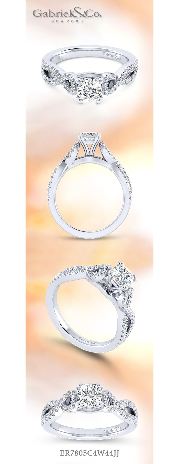 14K White Gold Twisted Cushion Cut Diamond Engagement Ring angle