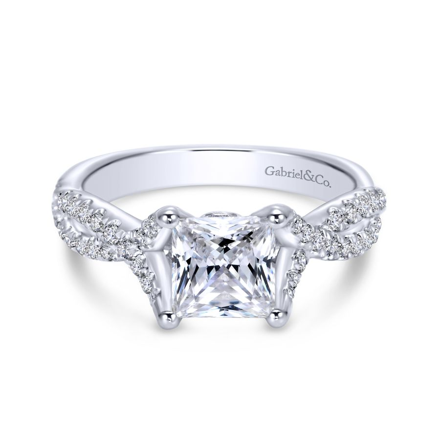 14K White Gold Twisted Princess Cut Diamond Engagement Ring angle