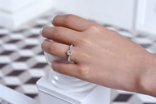 14K White-Rose Gold Round Complete Diamond Engagement Ring angle