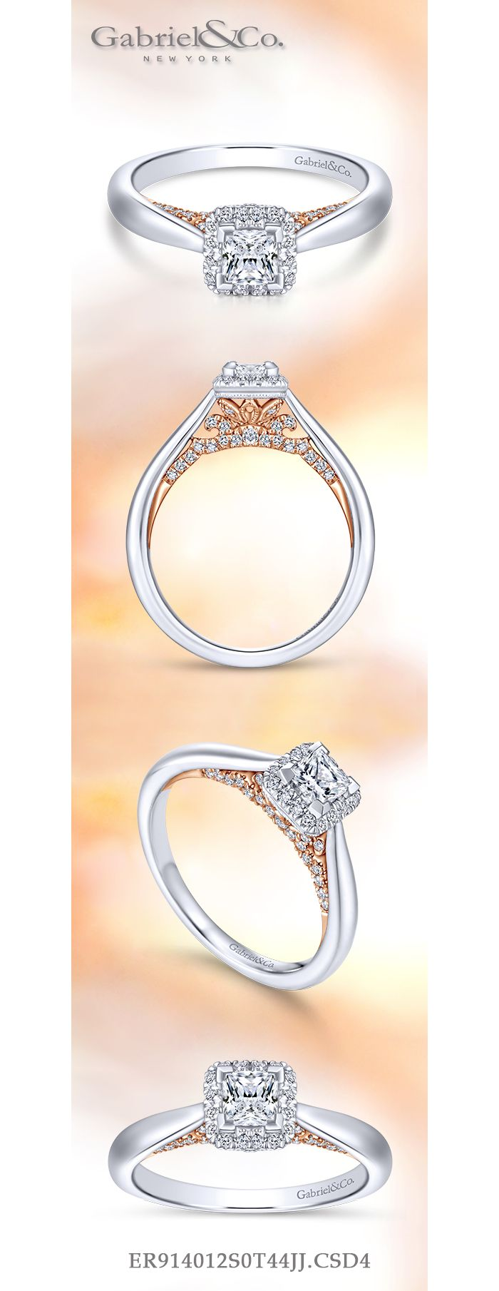 14K White-Rose Gold Princess Halo Complete Diamond Engagement Ring angle