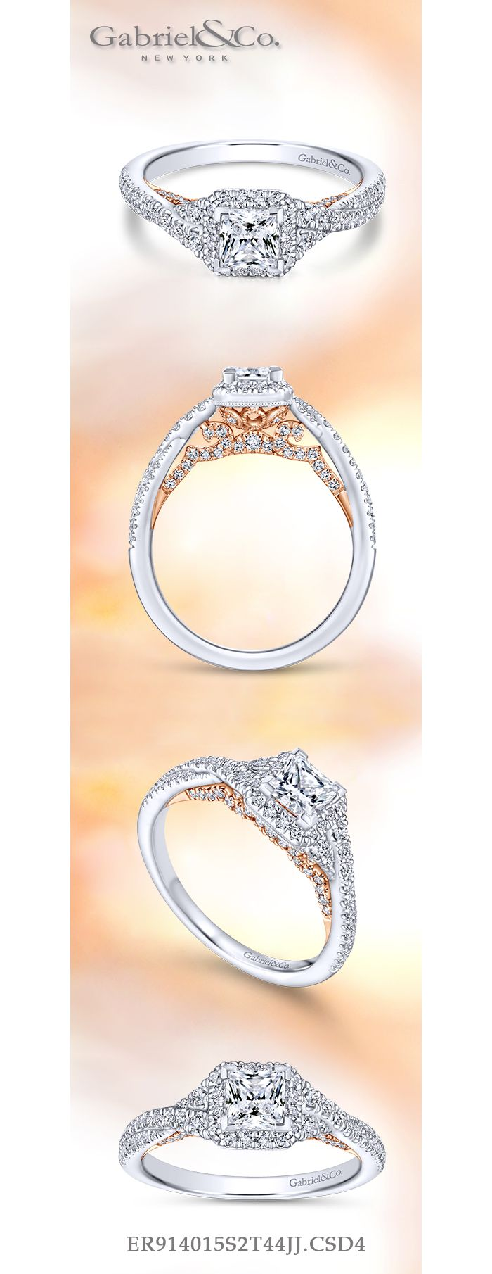 14K White-Rose Gold Princess Halo Diamond Engagement Ring angle