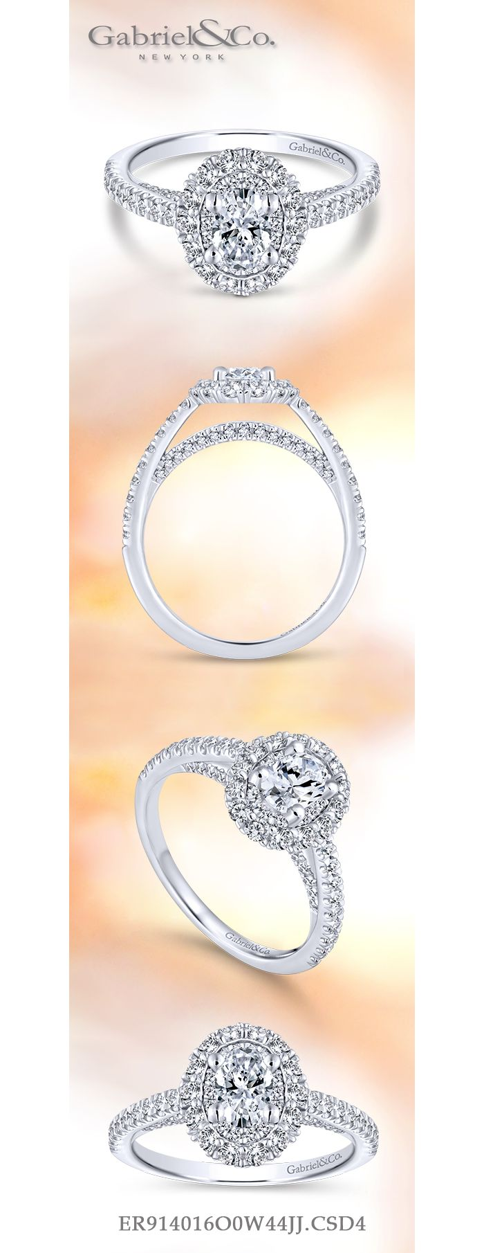 14k White Gold Oval Double Halo Complete Diamond Engagement Ring angle