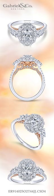 14K White-Rose Gold Oval Diamond Engagement Ring angle