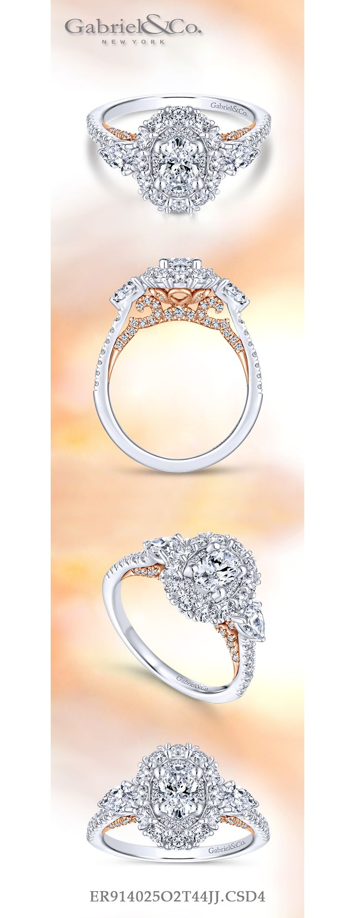 14K White-Rose Gold Oval Complete Diamond Engagement Ring angle