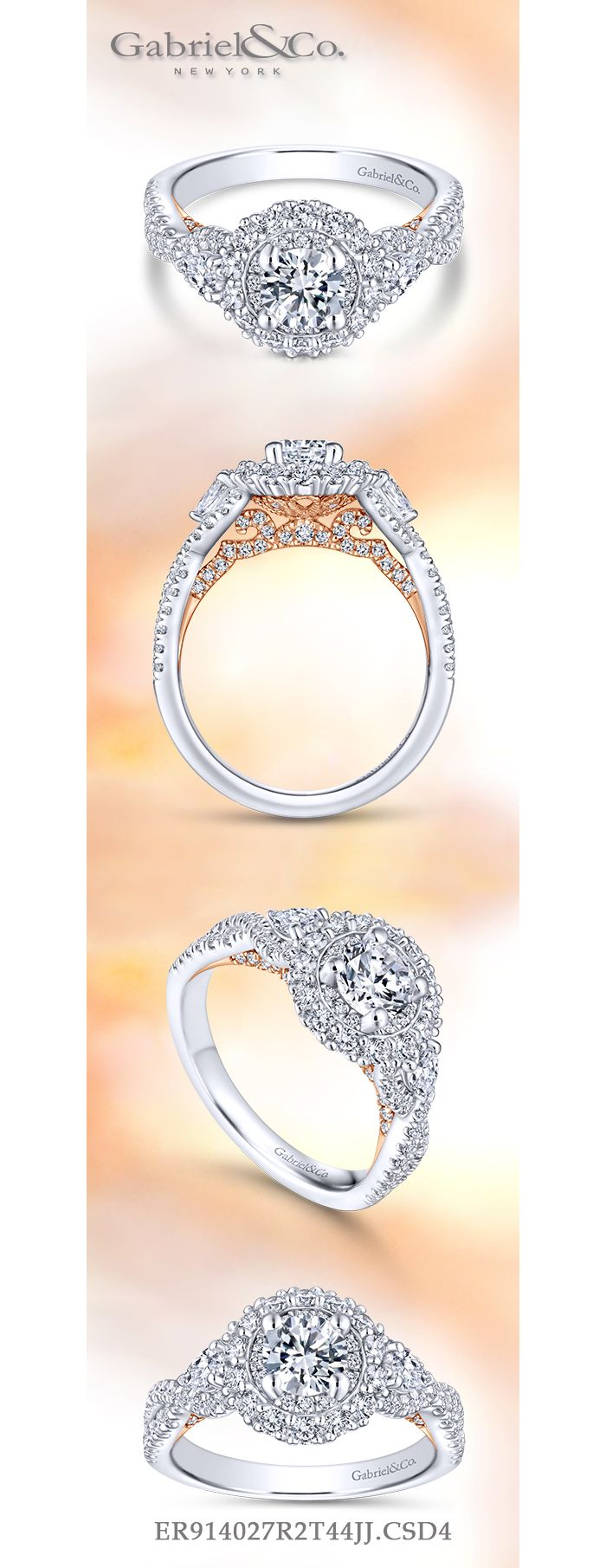 14K White-Rose Gold Round Double Halo Diamond Engagement Ring angle