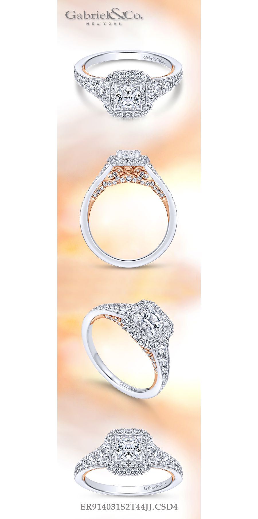 14K White-Rose Gold Princess Double Halo Complete Diamond Engagement Ring angle