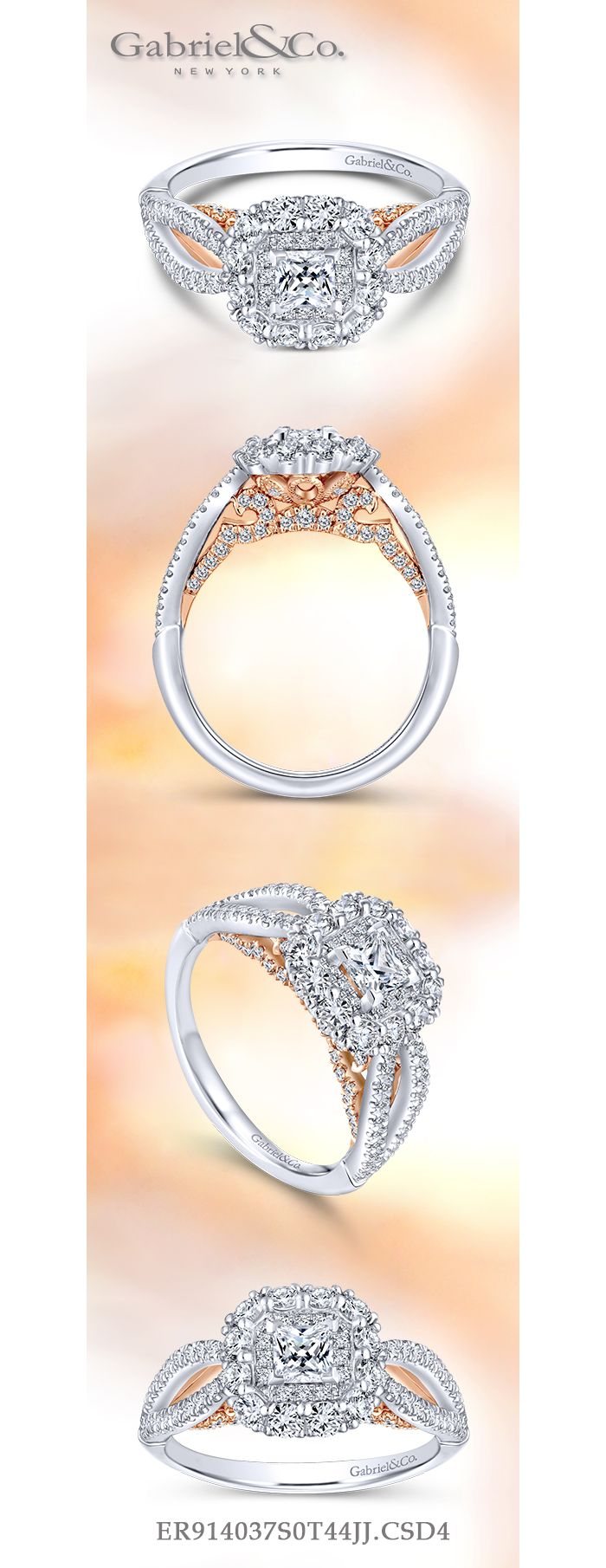 14K White-Rose Gold Princess Double Halo Diamond Engagement Ring angle