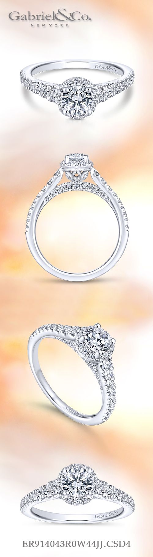 14K White Gold Round Halo Complete Diamond Engagement Ring angle
