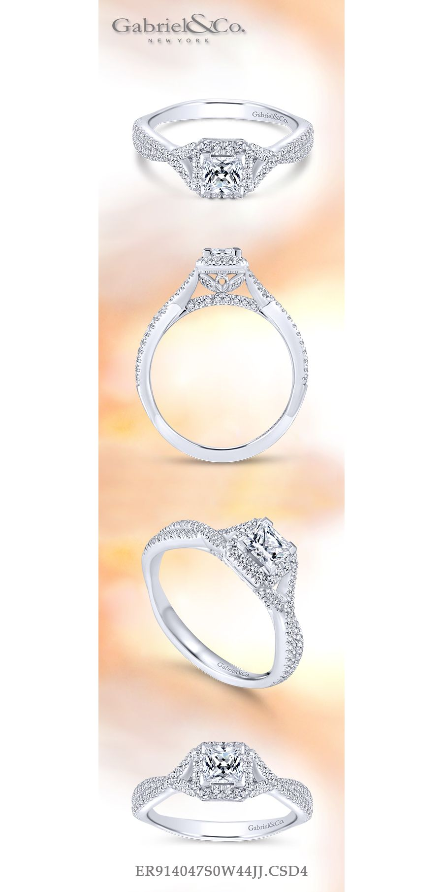 14K White Gold Princess Halo Complete Diamond Engagement Ring angle