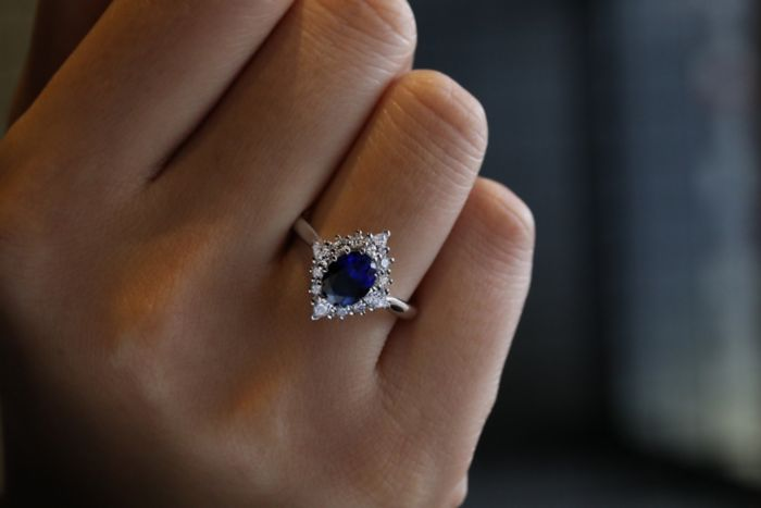14K White Gold Oval Halo Sapphire and Diamond Engagement Ring angle