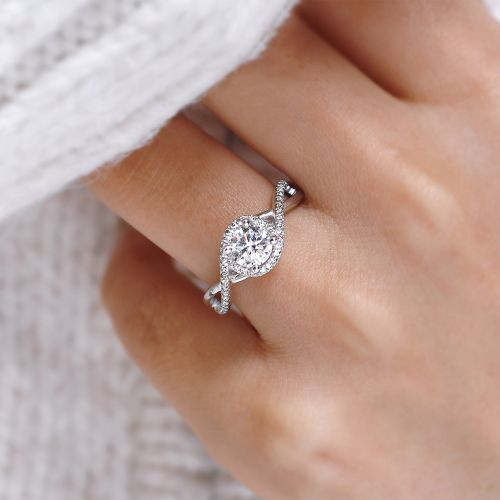 14K White Gold Round Twisted Diamond Engagement Ring angle
