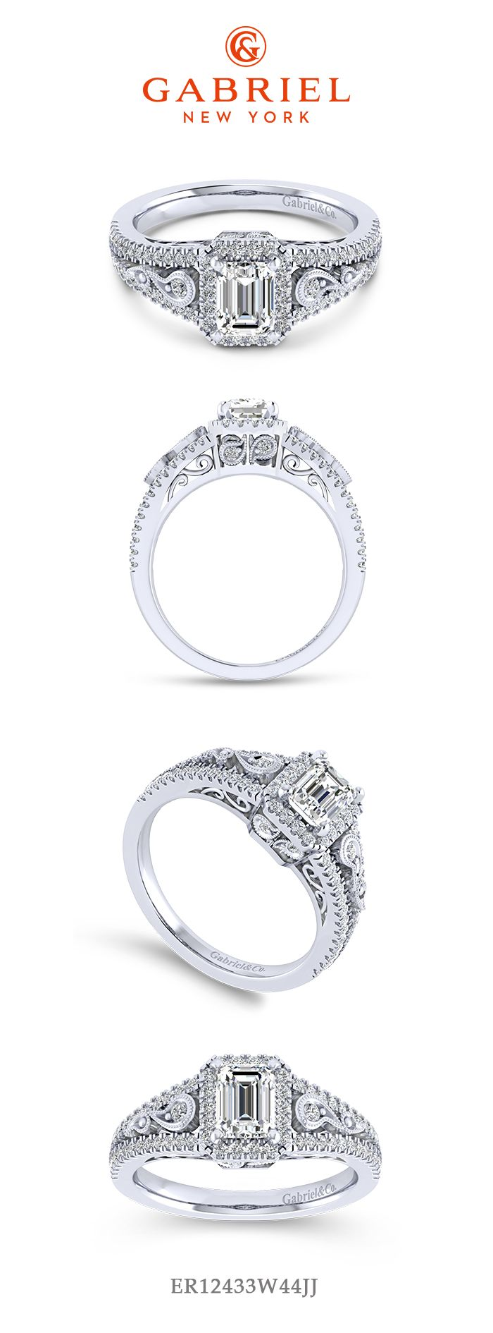 Vintage Inspired 14K White Gold Halo Emerald Cut Diamond Engagement Ring angle