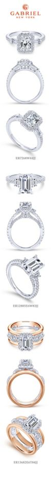 14K White Gold Three Stone Halo Emerald Cut Diamond Engagement Ring angle