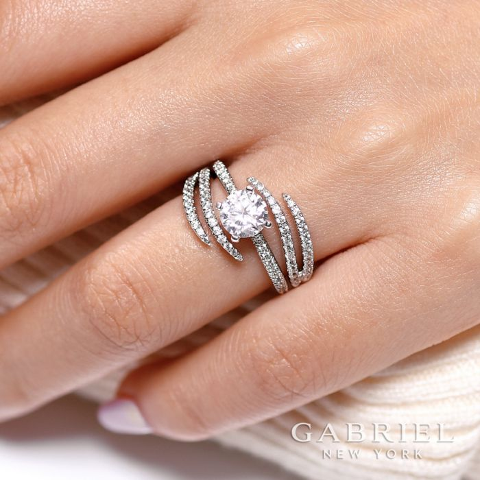 14K White Gold French Pavé Set Diamond Ring Enhancer angle