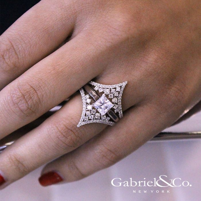 14K White Gold Chevron Diamond Ring Enhancer angle