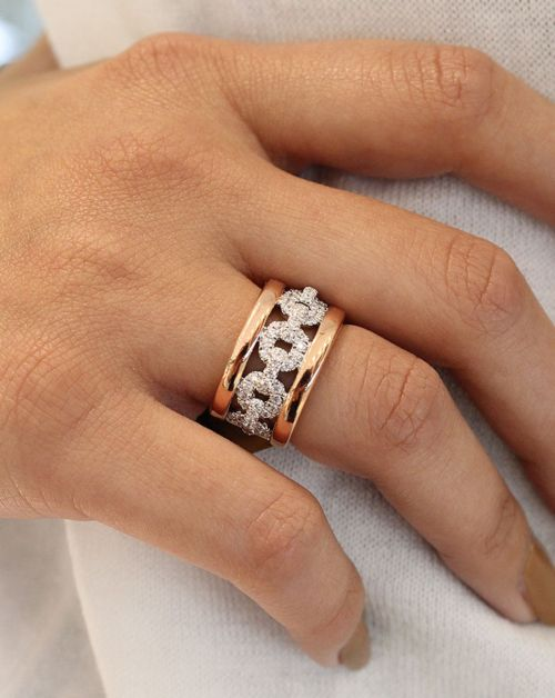 Wide 14K White and Rose Gold Fancy Diamond Anniversary Band angle