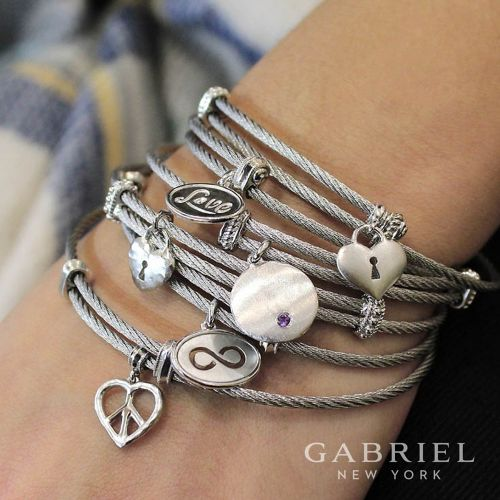 Stainless Steel Wrapped Bangle with Locking Heart Charm