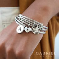 925 Silver And Stainless Steel Steel My Heart Initial Bangle angle