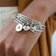 925 Silver/Stainless Steel Initial A Bangle angle