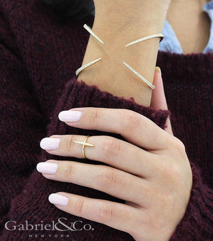 14K Yellow Gold Diamond Bangle angle