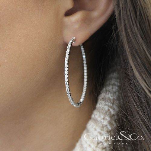 14K White Gold Prong Set 40mm Round Inside Out Diamond Hoop Earrings angle