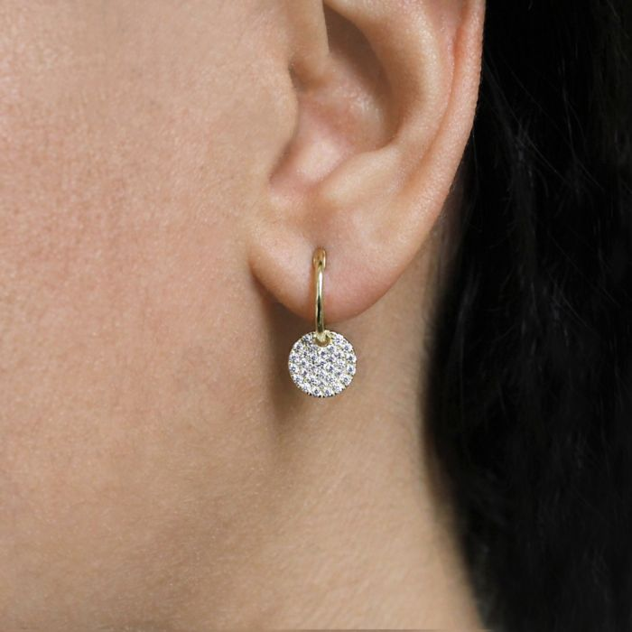 14K Yellow Gold Diamond Pavé Disc Drop Earrings angle